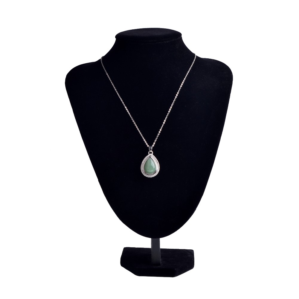 Yiwu Wholesale Natural Green Aventurine Pendant Waterdrop Pendulum Necklace for Girls Gifts Jewellery Making