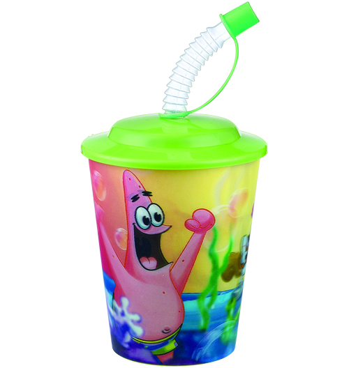 12oz 3D lenticular plastic beaker with hat lid