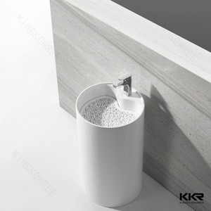400 polished white solid surface stone resin freestanding cylinder basin