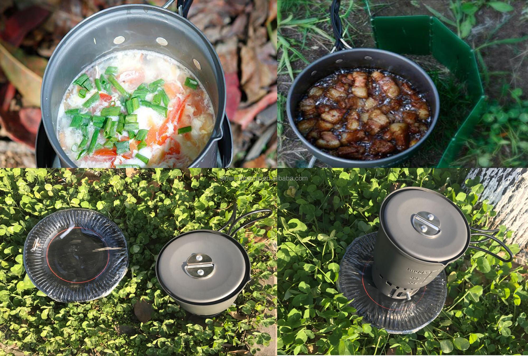 1-2 Person Picnic Stove Pot Set Camping BBQ Tableware Kit Cooker