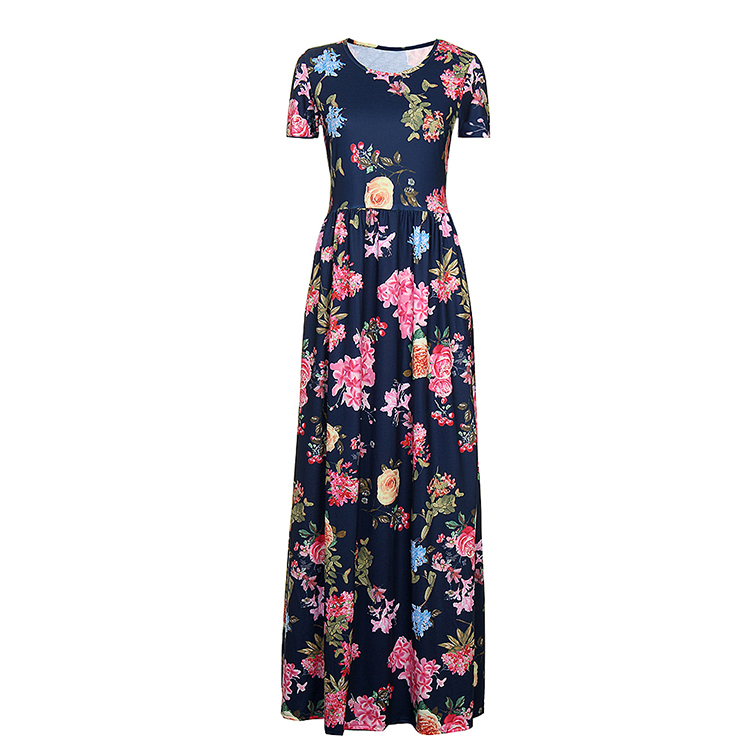 Wholesale Women Short Sleeve Printed Evening Long Maxi Dress Floral