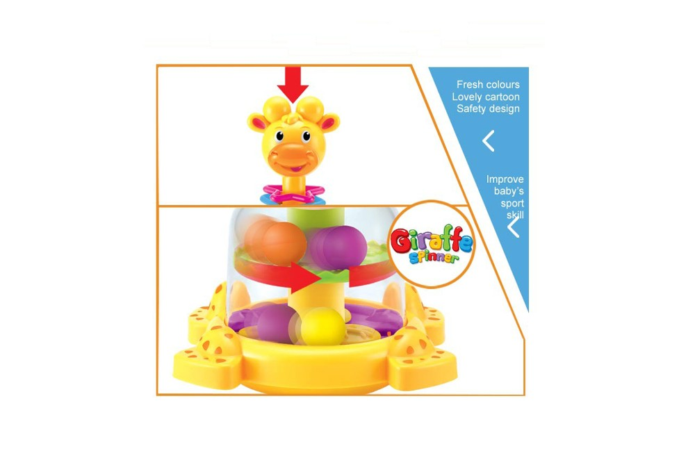 Baby shaking bell, rolling giraffe spinner for kids