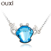 OUXI fashion Christmas series crystal Cancer jewelry/alloy rhodium plated necklace 10773