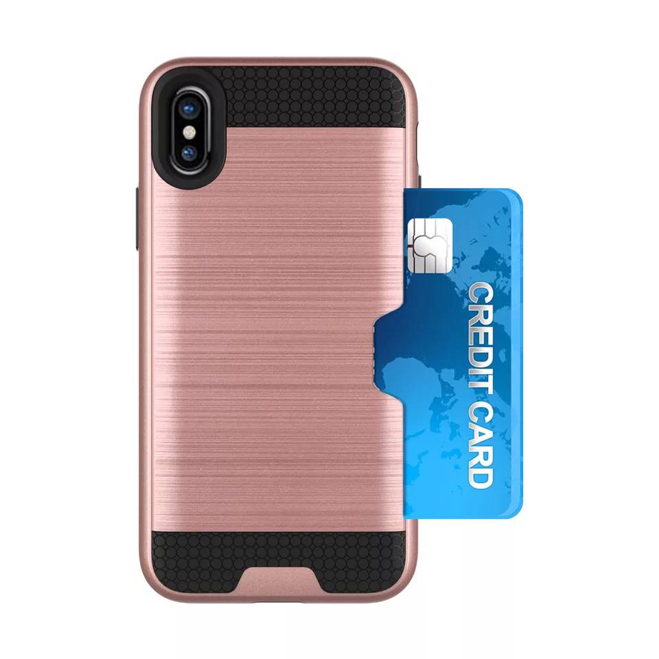 For Iphone X Case,2 in 1 Hybrid TPU+PC Brushed Mobile Phone Case With Card Slot For Iphone X