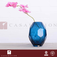 CASAMOTION Blue Solid Color Diamond Shaped Shiny Wholesale Custom Glass Vase