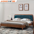 new model home bedroom latest modern solid wooden frame furniture walnut color double beds designs