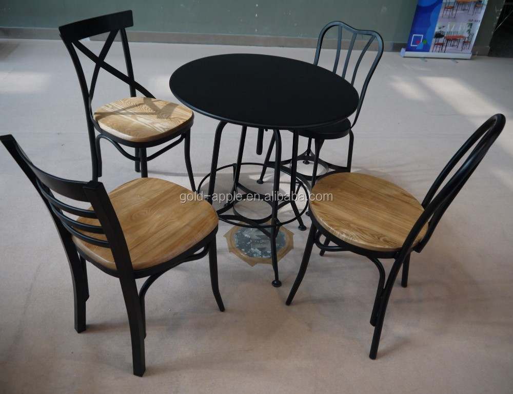 Wholesale fast food round table wooden chairs for