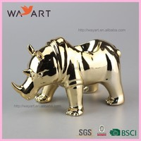 Hand Made Gold Rhinoceros Wholesales Ceramic Hotel Soap Dish