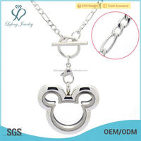 New design floating locket stainless steel necklace jewelry sets casting