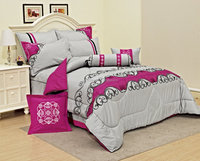 China popular microfiber king size embroidery comforter set