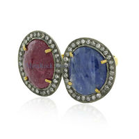 blue Sapphire & ruby gemstone diamond ring, gold ring designs for men, latest design diamond ring 925 silver rings