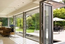 Aluminum folding window with double-layer insulating glass