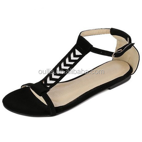 2015 New design womens ankle strap peep toe flat summer sandal laser cuts peep toe flat sandals PF3769