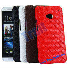 Woven Pattern Lether Coated Case for HTC ONE M7 Case - Wholesale