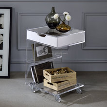 Clear rolling lucite home furniture with drawer 2 tiers acrylic end table with wheels