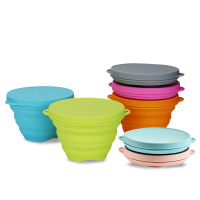 Heat resistant food grade multifunctional microwave silicone collapsible bowl with lid