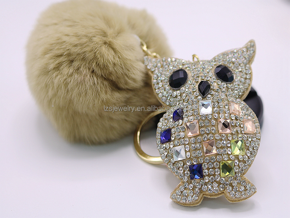 Leather Tassels Fur Ball Pom Pom Keychain Crystal Owl Design Leather Tassel Keychain