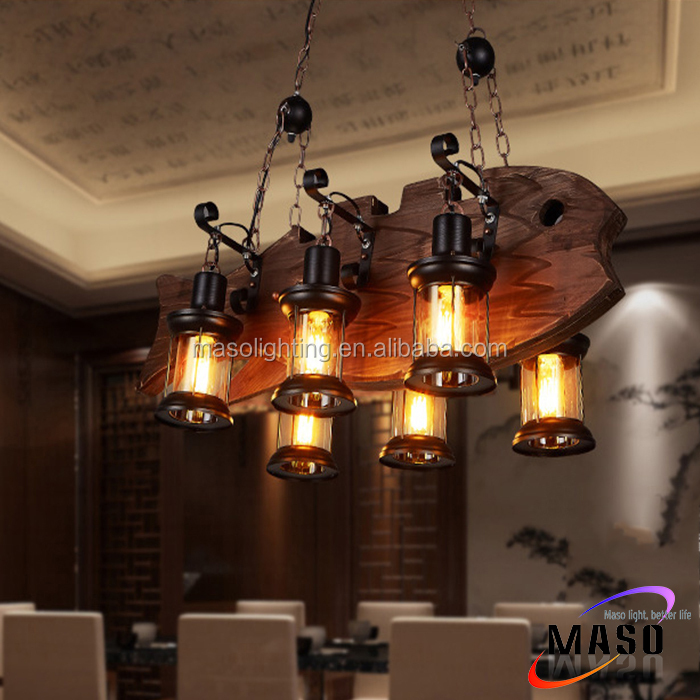 LED pendant lamp solid wood craft shade E27 base hanging chandelier chinese light fixtures