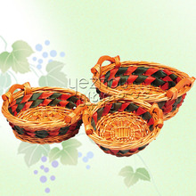 fashion handmade plastic lined wicker basket
