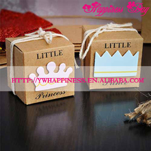 Baby Shower Candy Boxes Little Prince & Princess Crown Kraft Wedding Boxes Blue Pink Candy Box For Girl Boy Birthday Favor Boxes