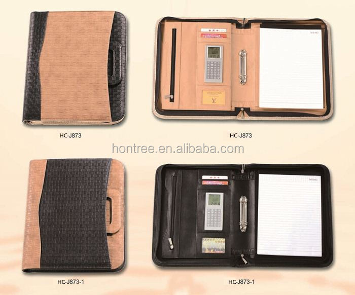 2014 HONTREE wholesale Leather a3 size portfolio bag with Calculator for office