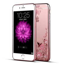 for iphone 6 Case,Secret Garden Butterfly Floral Flower Bling Soft TPU Silicone Gel Bumper Case for Apple iphone 6 4.7''
