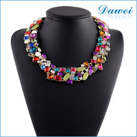 Latest Design Multicolor Glass Crystal Choker Collar Necklace For Women