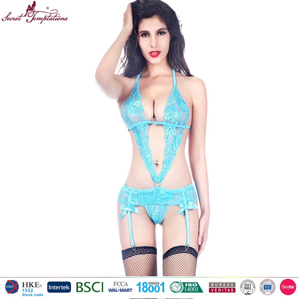 Secret Temptations lace sexy teddy bodysuit with garters sexy lingerie women sexy babydoll young girls