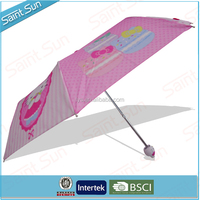 Manual Open 3 Folding Hello Kitty Animal Handle Umbrella For Girls