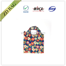factory customize new design 190T 210D polyester folding shopping bag foldable tote bag for promotion with print logo