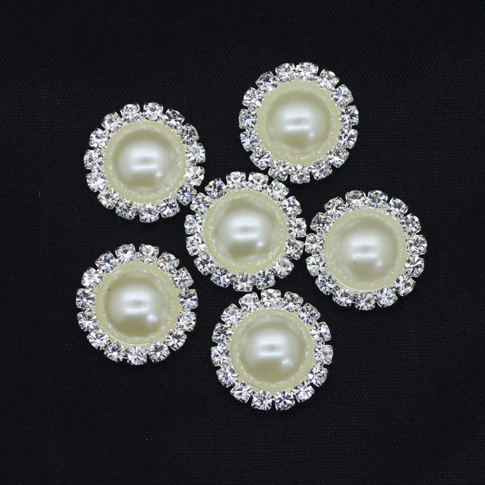 New 16MM Fashion Round Silver Buttons Diy White Pearl Accessories Festival Decor Diameter Supplies For Wholesale <strong>Z06</strong>