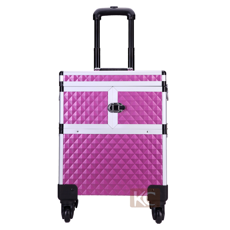 4*360 Degree Wheels Professional Beauty Aluminum Makeup Trolley Case With Mirror