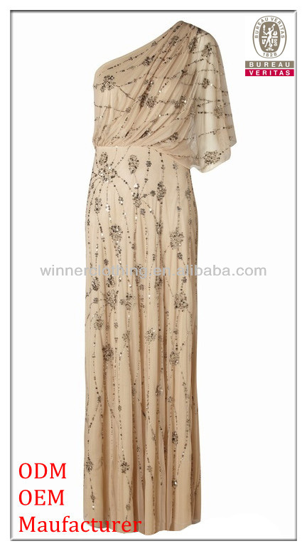 new fashion design hot sale one shoulder elegant maxi gold sequin floor length dresses