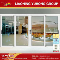 High quality YH 60 series sliding opening double glazing interior pvc double french sliding doors