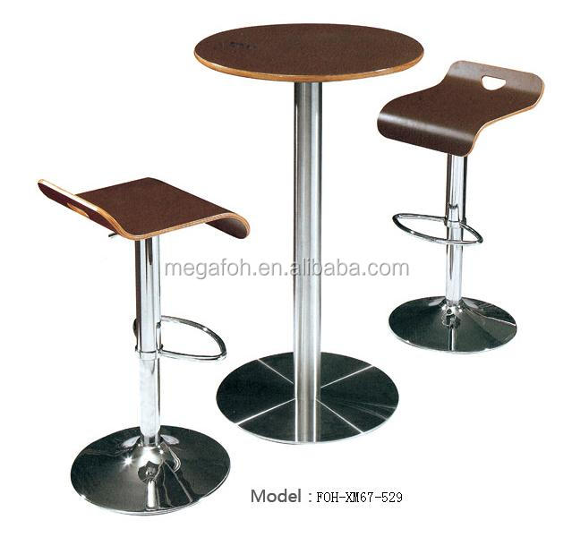 Modern revolving plywood bar chair for cafe/ drink bar/pub with round table FOH-XM67-529