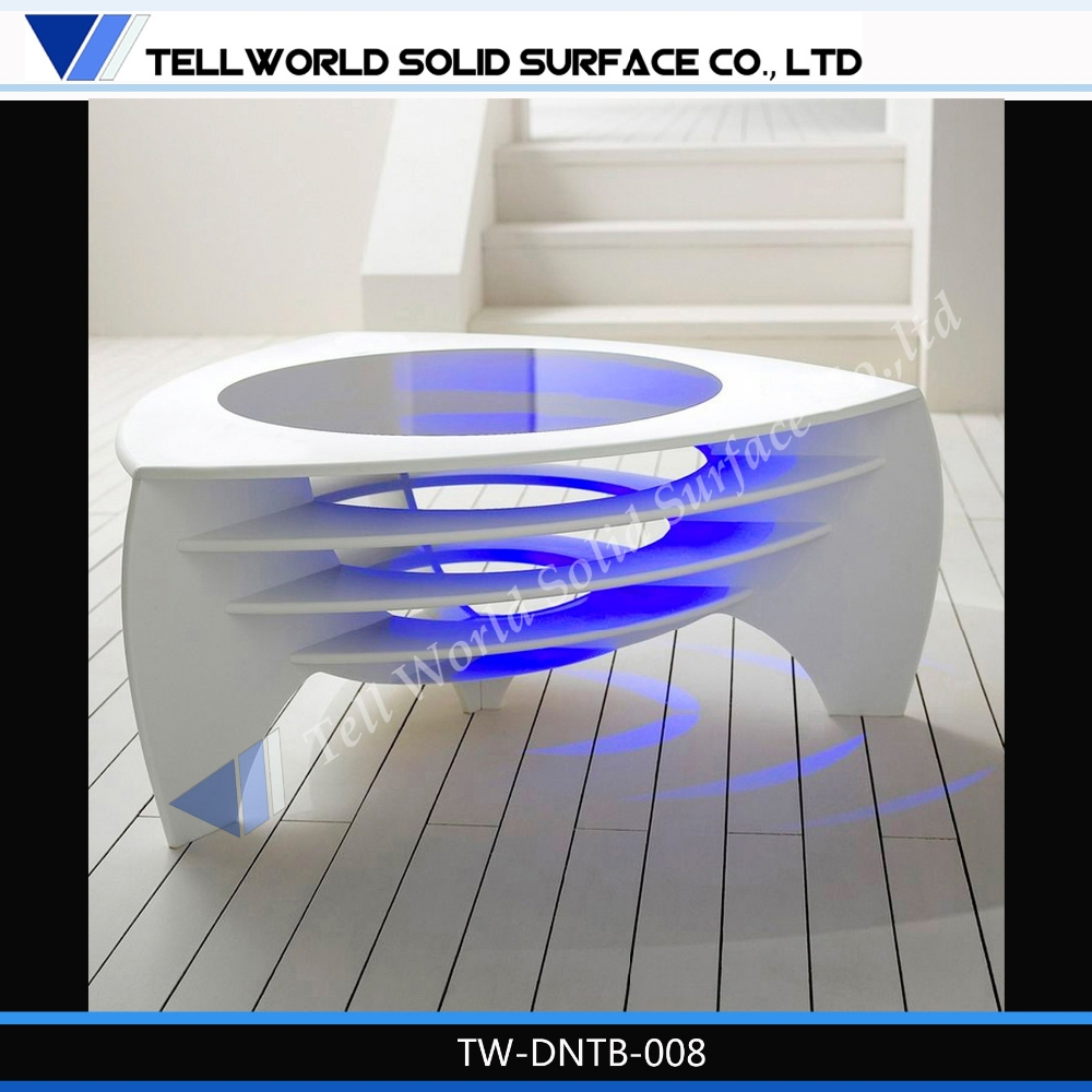 Artificial Marble Glass Mixed Light LED Bar Table Design