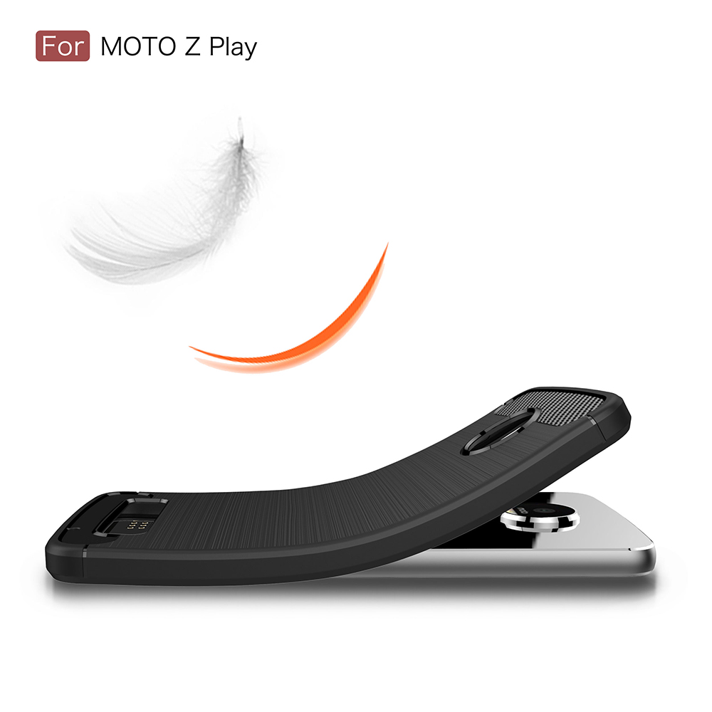 New Arrival Carbon Fiber Tpu Silicone Back Cover Phone <strong>Case</strong> For Motorola <strong>Z</strong> play