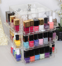 black acrylic makeup holder spinning cosmetic display rack for nail polish bottles