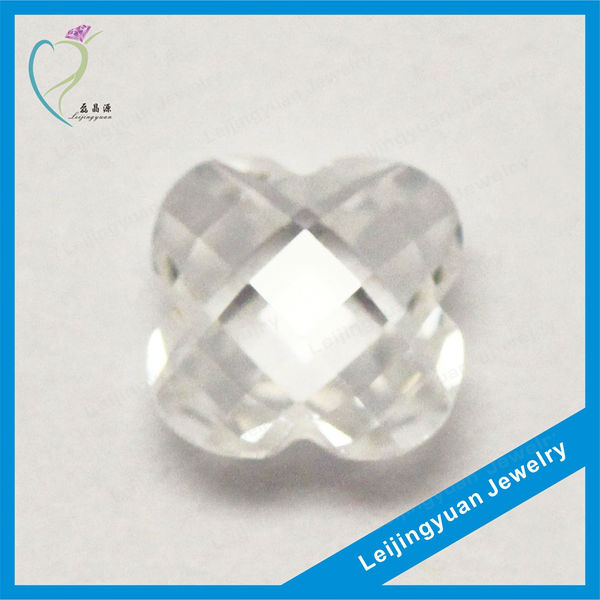 Wuzhou Wholesale Flower Checker Rose Cut White Cubic Zirconia Stone