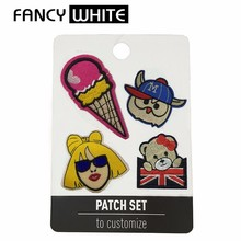Pretty colored cartoon polyester textile young ladies patches fashion clothing