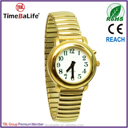 2014 low MOQ OEM gold stainless steel band white face lady multiple alarm English French Italian speaking talking watch