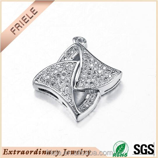 2016 China wholesale Fashion geometry design square pendant 925 sterling silver pendants with cz stone