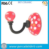 Red and spot lovely decorate room ceramic Wall Towel Hook