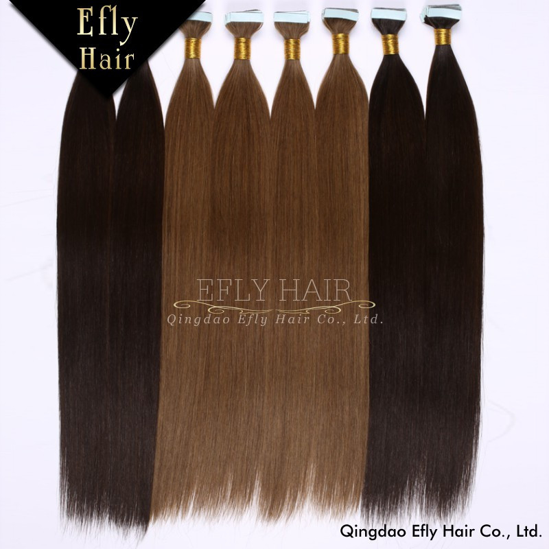 Wholesale High Quality Indian temple Remy human hair Skin Weft/PU/tape in hair extension