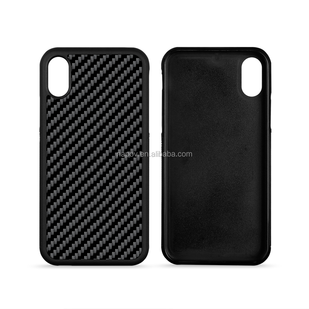 For iPhone X Mobile Case Covers, Real Carbon Fiber Cell Phone Cover Soft TPU Case For Apple iPhone X