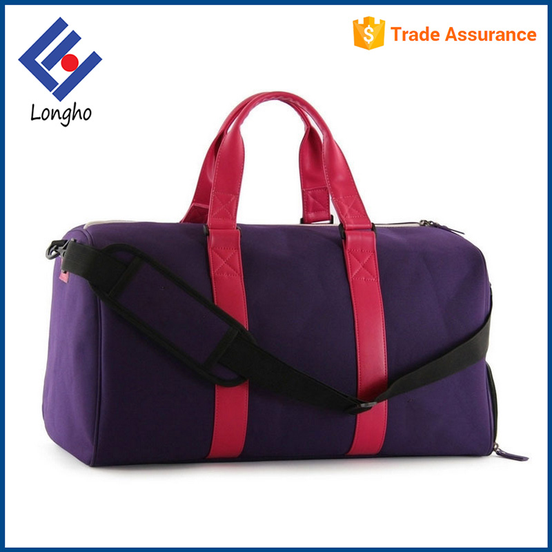 "Simple design 19"" cheap wholesale duffel bag PU leather handle large space travel bag with shoe pocket"