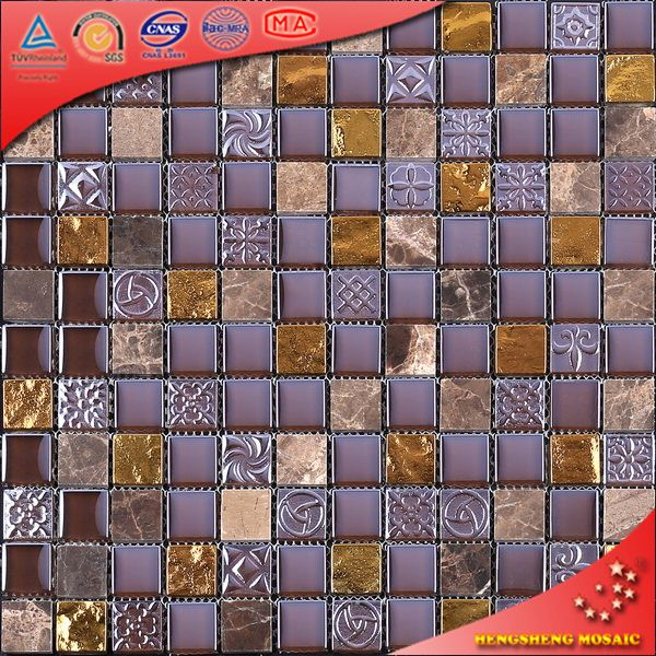 KS204 Purple And Golden Lava Stone Mosaic Mosaic Marble Art Broken Marble Mosaic