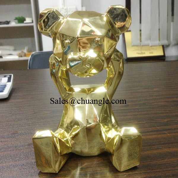 Gold Plated Bear, Electroplated Gold Effect, Resin Cartoon Craft