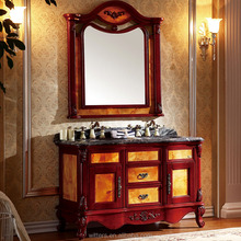 WTS-8021A french double ceramics Sink rubber solid wood bathroom vanity cabinets with Matching Mirror