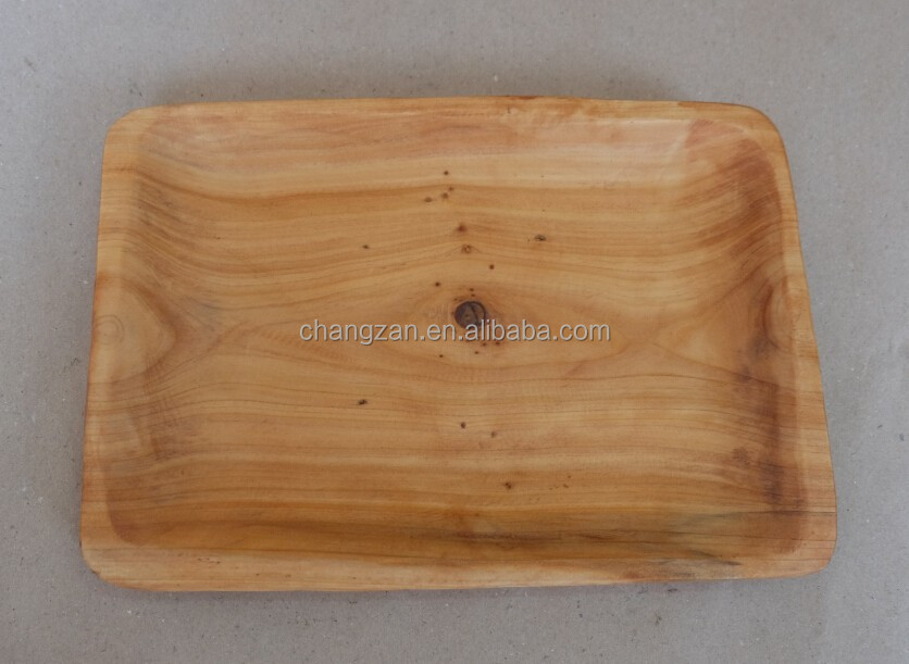 Chinese Style Wooden Handly Carved Fir Root Square Plate